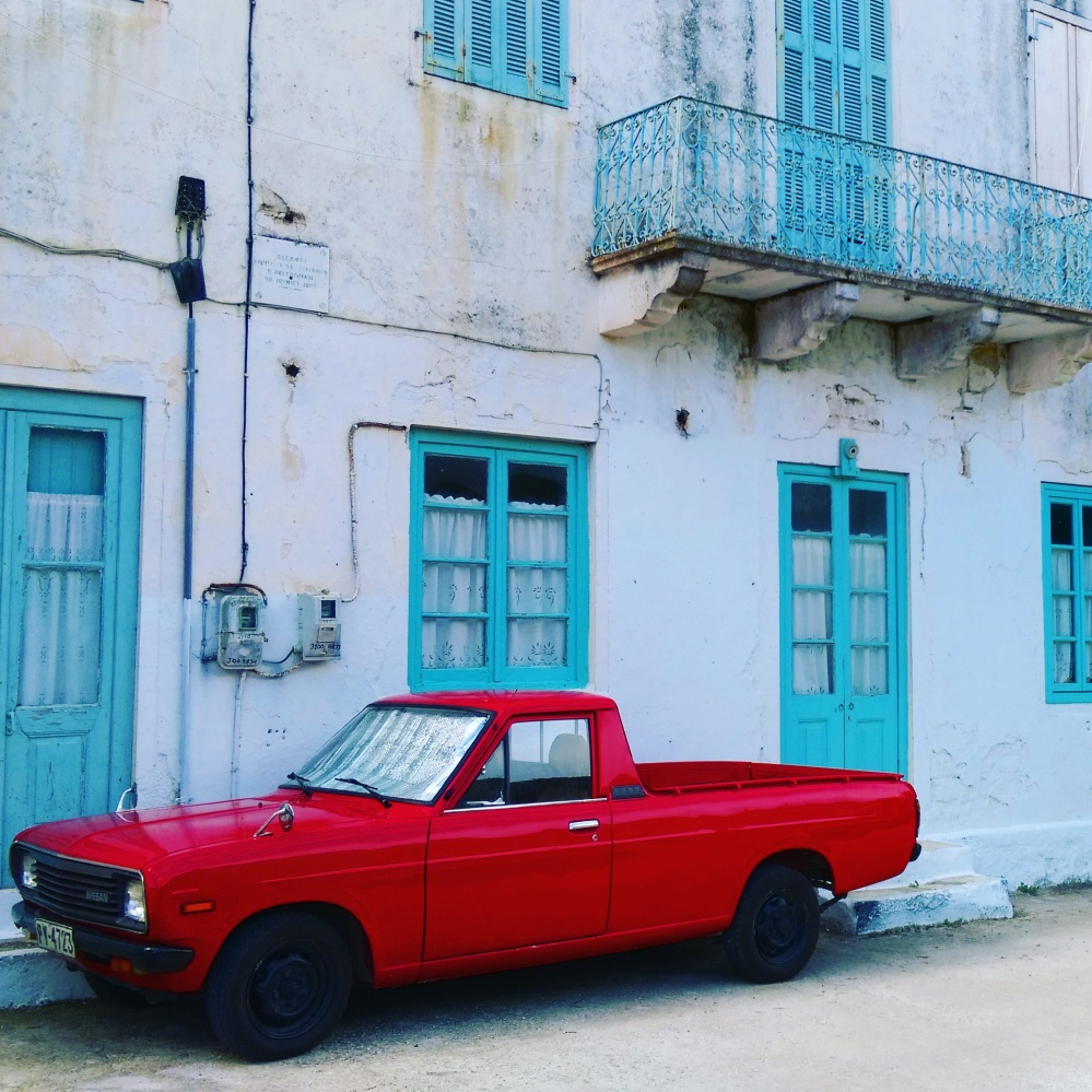 classic-red-car-greek-islands-mokita-dreams-by-ieva-kambarovaite