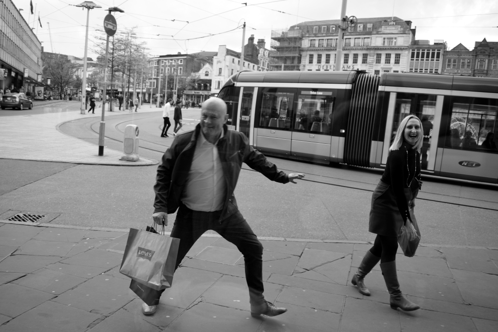 dancing happy man nottingham streets by ieva kambarovaite