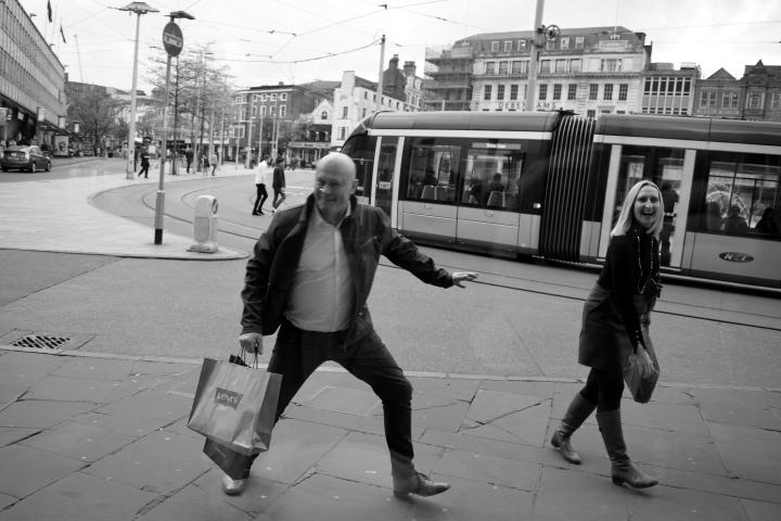 dancing happy man nottingham streets by ieva kambarovaite