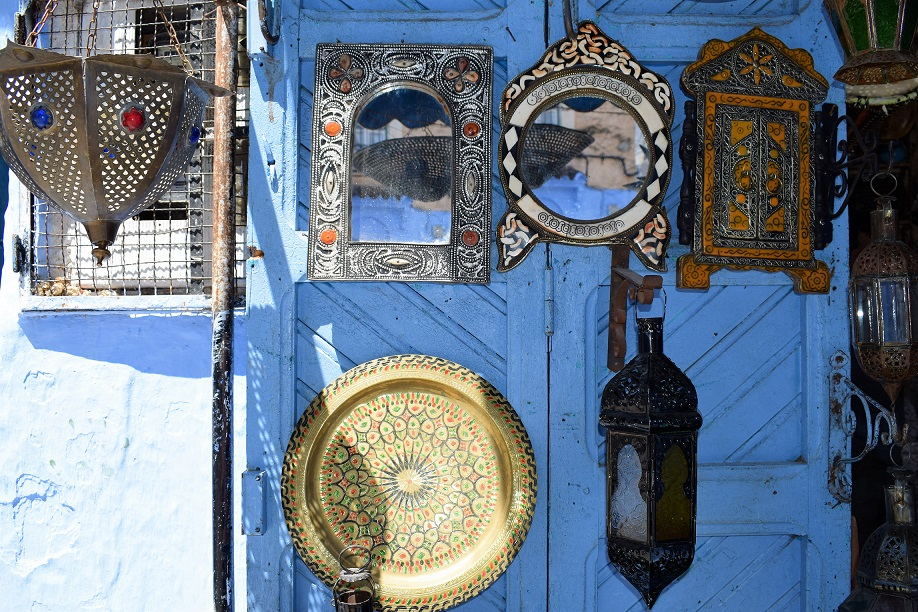wall art morocco blue city by ieva kambarovaite